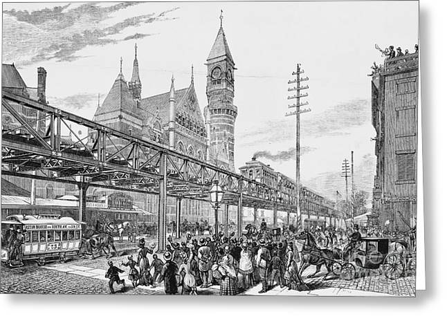 Sixth Greeting Cards - Sixth Avenue El Train 1878 Greeting Card by Omikron