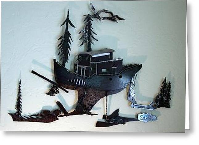 Fishing Boats Sculptures Greeting Cards - Skag  SOLD Greeting Card by Steve Mudge