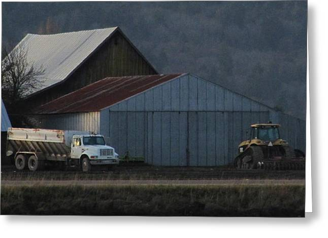 Photo Gallery Website Greeting Cards - Skagit Valley Farm at Dusk Greeting Card by Sandy Rubini