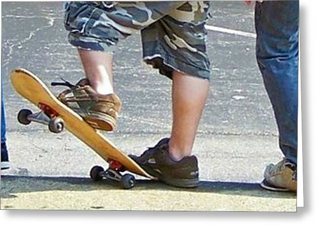Boy On Skateboard Greeting Cards - Skate Feet Greeting Card by Joan Powell