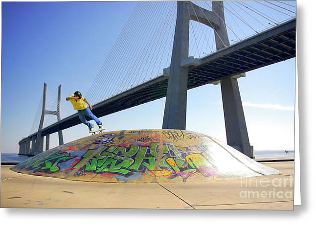 Skateboarding Greeting Cards - Skate Under Bridge Greeting Card by Carlos Caetano