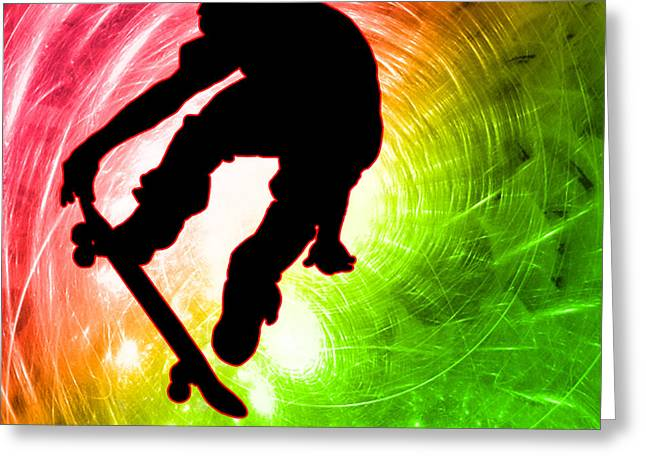 Teenager Tween Silhouette Athlete Hobbies Sports Greeting Cards - Skateboarder in a Psychedelic Cyclone Greeting Card by Elaine Plesser