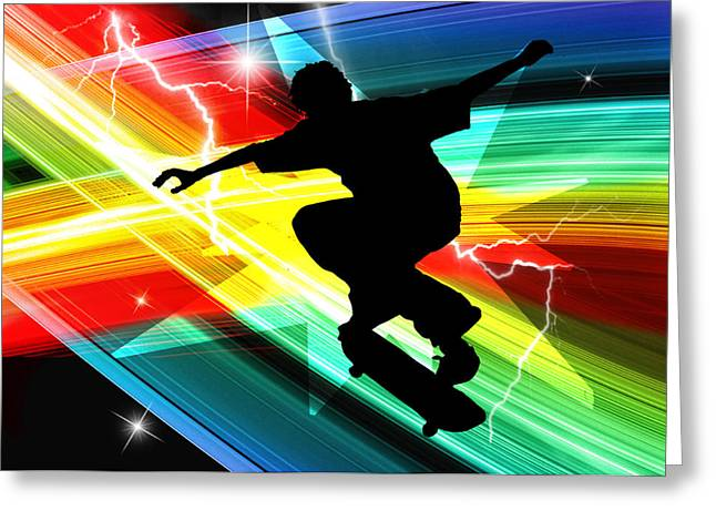 Skateboarding Greeting Cards - Skateboarder in Criss Cross Lightning Greeting Card by Elaine Plesser