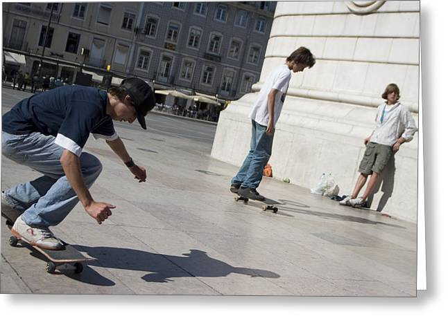 Ability Greeting Cards - Skateboarder in Lisbon Greeting Card by Carl Purcell