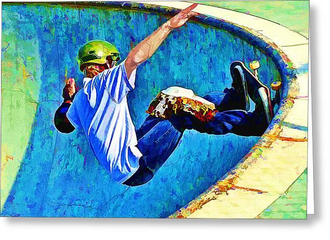 Skate Board Boarding Boarder Skateboarding Greeting Cards - Skateboarding in the Bowl Greeting Card by Elaine Plesser