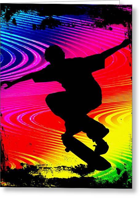 Skateboard Skate Boarding Sports Athletic Stunts Greeting Cards - Skateboarding on Rainbow Grunge Background Greeting Card by Elaine Plesser