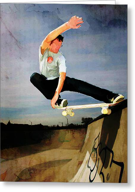 Skateboard Skate Boarding Sports Athletic Stunts Greeting Cards - Skateboarding the Wall  Greeting Card by Elaine Plesser