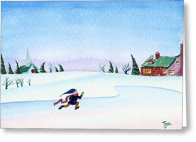Snowman Greeting Cards - Skater Greeting Card by Thomas Griffin