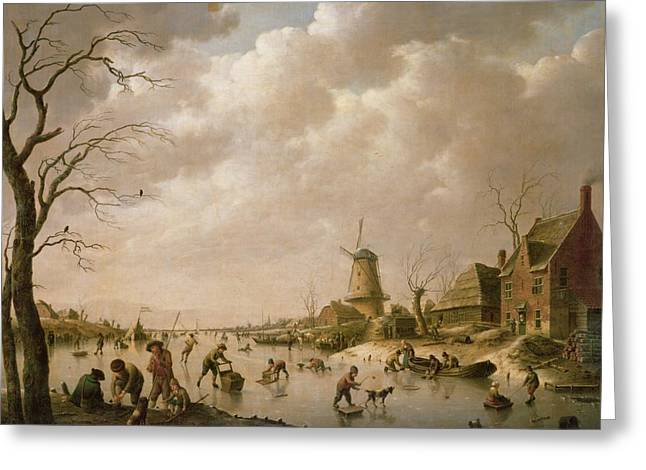 Skaters Greeting Cards - Skaters on a Frozen Canal Greeting Card by Hendrik Willem Schweickardt
