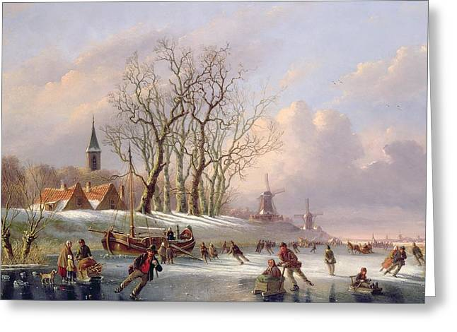 Wintry Greeting Cards - Skaters on a Frozen River before Windmills Greeting Card by Dutch School