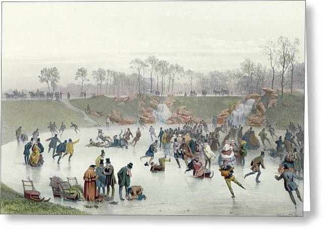 Skaters Greeting Cards - Skaters on the Lake at Bois de Boulogne Greeting Card by Ice Skaters on the Lake at Bois de Boulogne