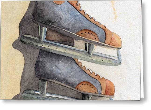 Skates Greeting Card by Ken Powers