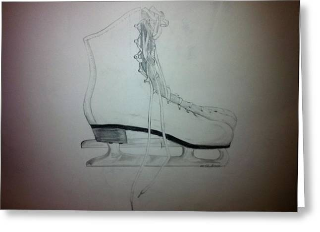 Ice-skating Drawings Greeting Cards - Skates Greeting Card by Mike Eliades