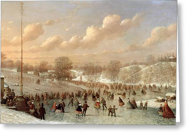 Blizzard New York Greeting Cards - Skating Scene Greeting Card by Johann Mongels Culverhouse