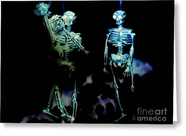 Jealousy Greeting Cards - Skeleton art Jealousy Greeting Card by Rebecca Margraf