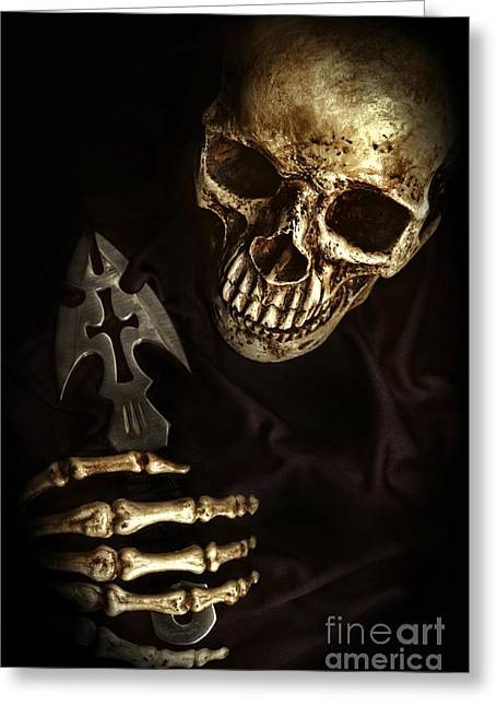 Religious Still Life Greeting Cards - Skeleton Holding Knife Greeting Card by HD Connelly