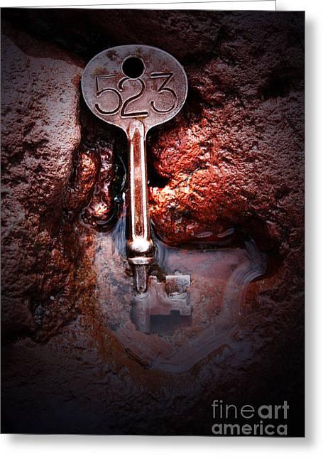 Skeleton Key No 523 Greeting Card by C E Dyer