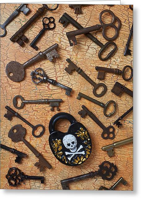 Bone Pile Greeting Cards - Skeleton Lock And Keys Greeting Card by Garry Gay