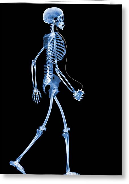 Music Ipod Greeting Cards - Skeleton With An Ipod Greeting Card by D. Roberts