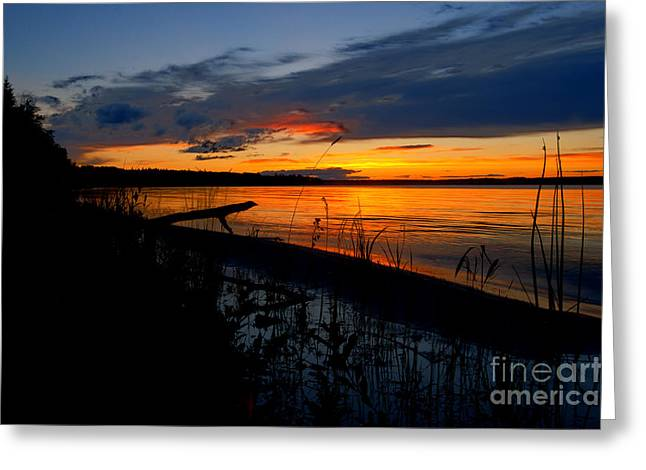 Alberta Posters Greeting Cards - Skeloton Lake Sunset HDR Greeting Card by Darcy Michaelchuk