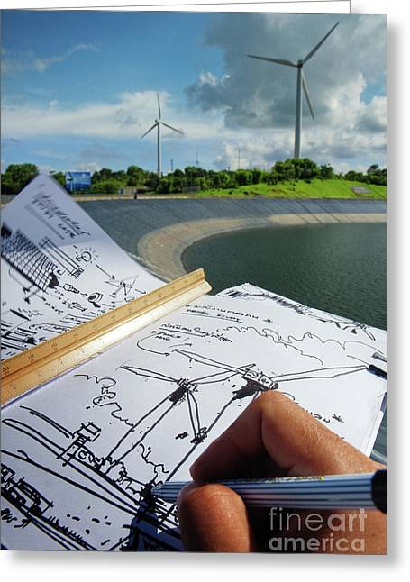Rotate Greeting Cards - Sketch  Greeting Card by Buchachon Petthanya