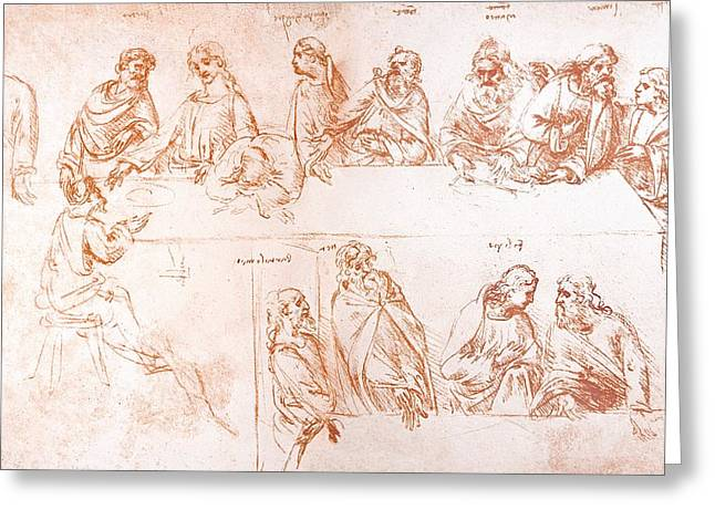 Last Supper Greeting Cards - Sketch For The Last Supper Greeting Card by Sheila Terry