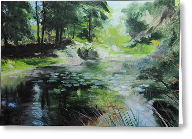 Naturalistic Greeting Cards - Sketch of a pond at Port Meirion Greeting Card by Harry Robertson