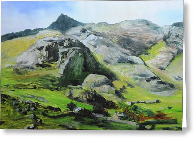 Naturalistic Greeting Cards - Sketch of mountains in Snowdonia Greeting Card by Harry Robertson