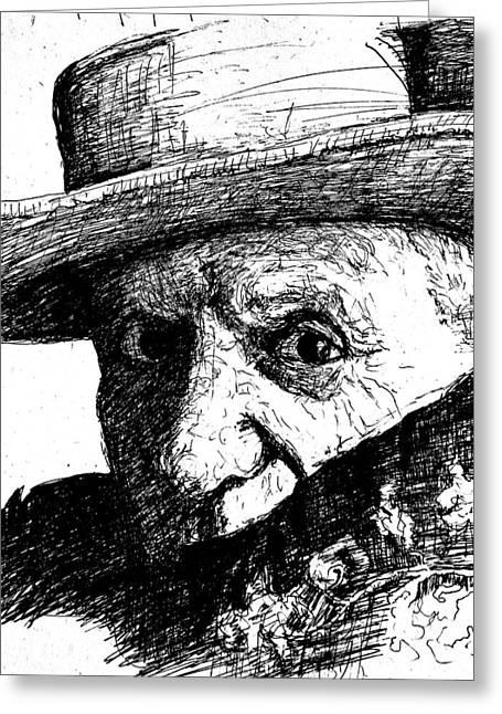 Best Sellers -  - Sketchbook Greeting Cards - Sketch of Picasso Greeting Card by Dan Earle