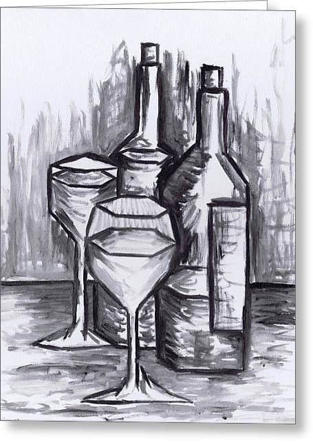 Still Life With Bottle Greeting Cards - Sketch - Still Life with Wine Greeting Card by Kamil Swiatek
