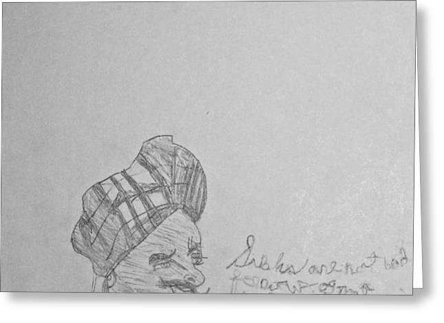 Sketched Expression Series - Northwest Indian Sikh Greeting Card by Stephanie Ward