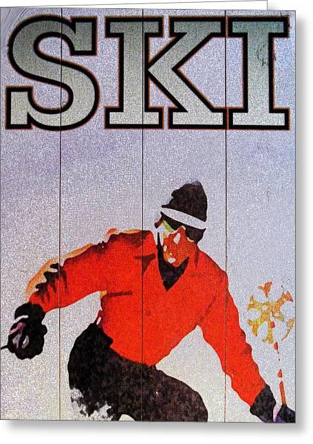 Ski Art Greeting Cards - Ski Greeting Card by Cyryn Fyrcyd