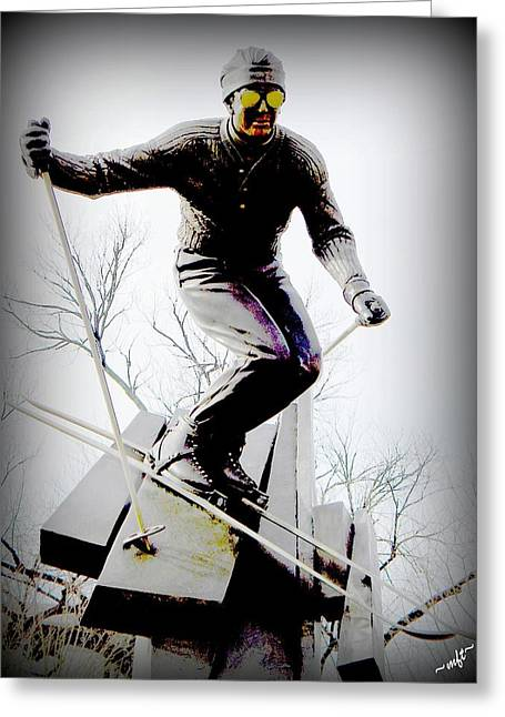 Skiing Posters Digital Art Greeting Cards - Ski on the edge Greeting Card by Michelle Frizzell-Thompson