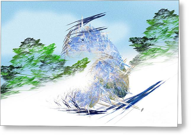 Ski Art Greeting Cards - Ski Sledding Blue Polar Bear Greeting Card by Andee Design
