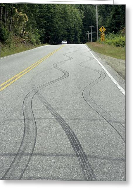 Out Of Control Greeting Cards - Skid Marks On A Road Greeting Card by Alan Sirulnikoff