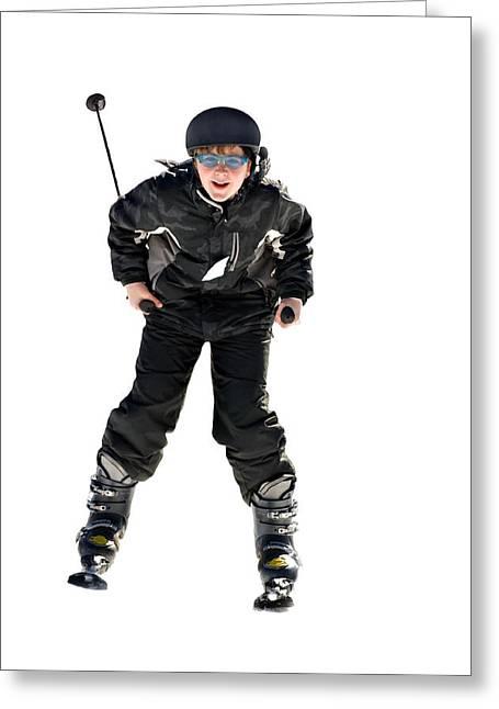 Skier Flying Greeting Card by Susan Leggett