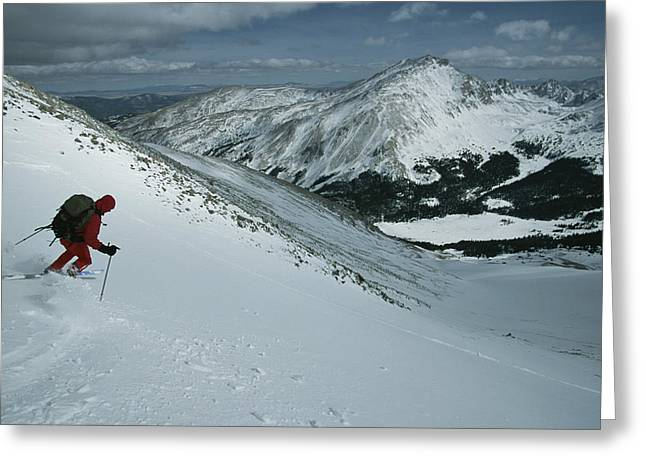 Model Colorado Greeting Cards - Skier Phil Atkinson Begins His Descent Greeting Card by Tim Laman