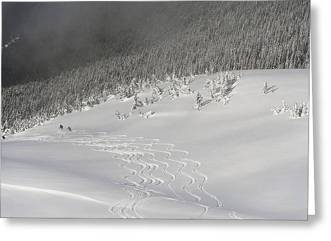 Ski Hill Greeting Cards - Skiers At The Base Of A Mountain Greeting Card by Keith Levit
