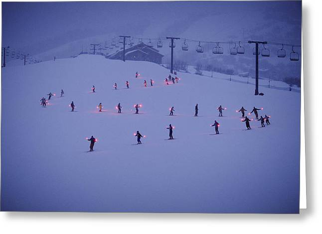 Steamboat Greeting Cards - Skiers In An S Formation And Each Greeting Card by Paul Chesley