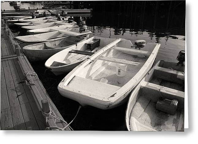 Skiff Greeting Cards - Skiffs and Dinghies Greeting Card by David Rucker
