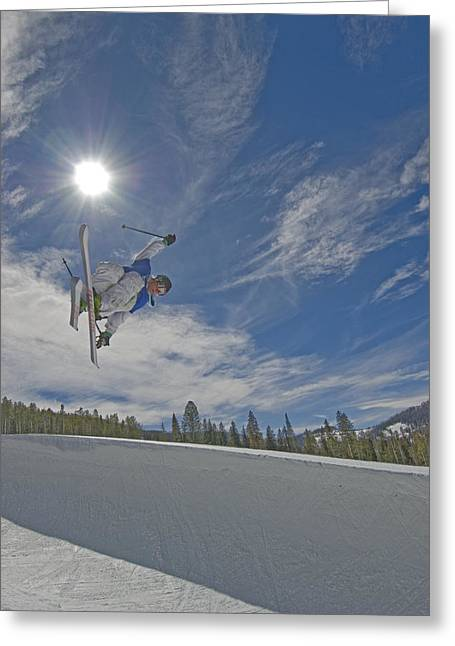 Ski Jumping Greeting Cards - Skiing Aerial Maneuvers And Flips Greeting Card by Gordon Wiltsie