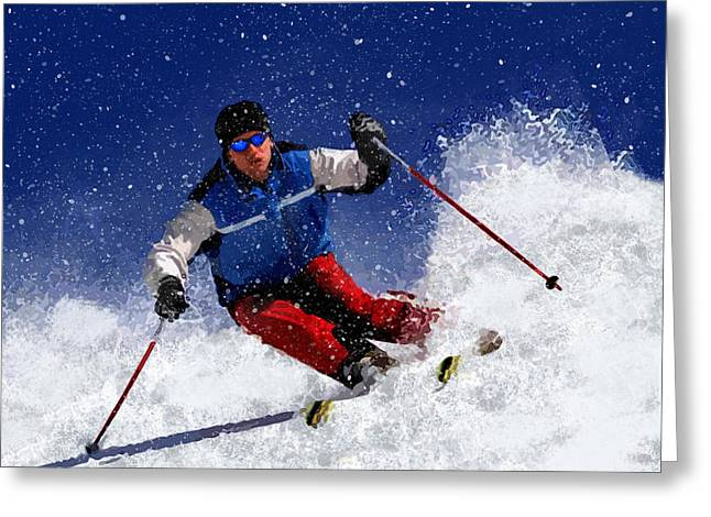 Freestyle Skiing Greeting Cards - Skiing Down the Mountain Greeting Card by Elaine Plesser