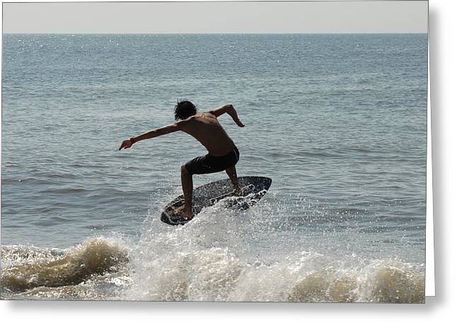 Kite Surfing Greeting Cards - Skimboarding 56 Greeting Card by Joyce StJames