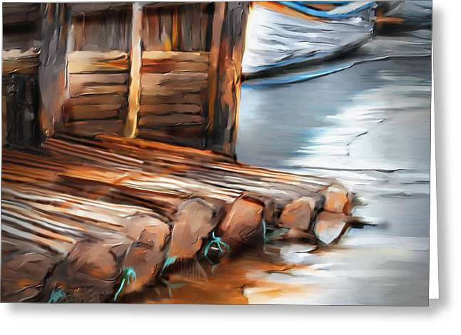 Docked Boats Greeting Cards - Skinners Pond Greeting Card by Bob Salo