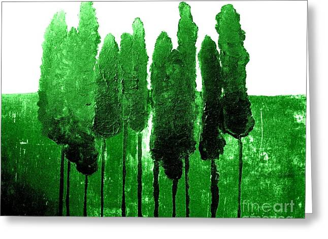Skinny Digital Greeting Cards - Skinny Green Trees Greeting Card by Marsha Heiken