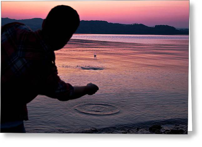 Stones Photographs Greeting Cards - Skipping Stones Greeting Card by Justin Albrecht
