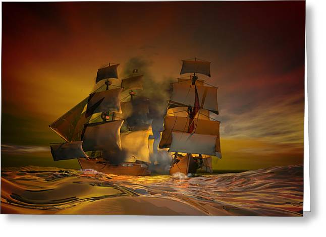 Pirate Ship Greeting Cards - Skirmish Greeting Card by Carol and Mike Werner