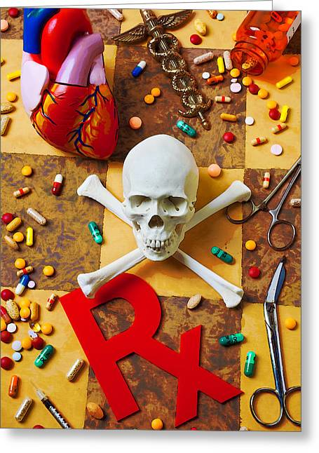 Prescription Greeting Cards - Skull and bones with medical icons Greeting Card by Garry Gay