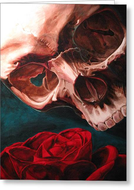 Skull And Rose  Greeting Card by Melissa  Johnson