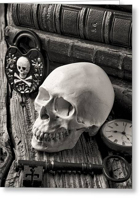 Intrigue Greeting Cards - Skull and skeleton key Greeting Card by Garry Gay